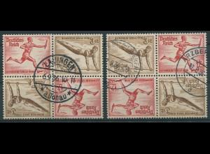 Dt. Reich, SK 28 (4), zwei versch. Viererblocks, gestempelt, Mi. 120,- (11297)