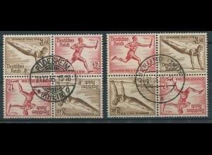 Dt. Reich, SK 28 (4), zwei versch. Viererblocks, gestempelt, Mi. 120,- (11298)