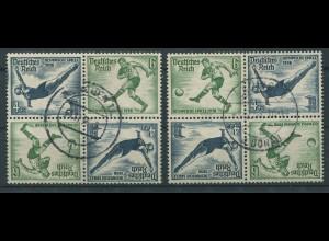 Dt. Reich, SK 27 (4), zwei versch. Viererblocks, gestempelt, Mi. 120,- (11299)