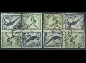 Dt. Reich, SK 27 (4), zwei versch. Viererblocks, gestempelt, Mi. 120,- (11300)