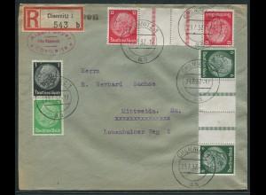 Dt. Reich, KZ 22.2 + KZ 23.2, portogerechter R-Brief, Mi. 38,- (11309)