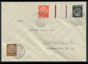 Dt. Reich, KZ 24, portogerecht auf Fern-Brief, Landpost, Mi. 18,- (11353)
