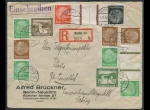Dt. Reich, KZ 24+25, S 127+130, portogerecht auf Orts-R-Brief (11359)