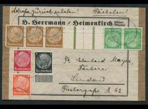 Dt. Reich, KZ 25, portogerecht auf Päckchen-Adresse (11383)