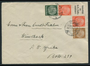 Dt. Reich, W 63, portogerecht auf Auslands-Brief (11487)