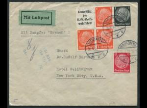 """Dt. Reich, W 65, auf Auslands-Brief, Dampfer """"Bremen"""" (11516)"""