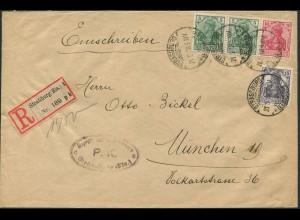 Dt. Reich, W 7 II, portoger. Zensur-R-Brief, Elsaß, seltener R-Zettel (11546)