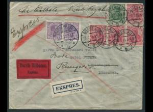 Dt. Reich, S 4 II, portogerechter Eil-Ausl.-Brief + dänische Nachgebühr (11548)