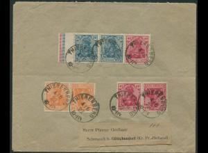 Dt. Reich, W 16, K 1, K 3, portogerechter Fern-Brief, Mi. 130,- (11559)