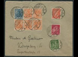 Dt. Reich, WK 1 + K 1, portogerechter Fern-Brief, Mi. 1000,- (11571)