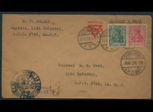 Dt. Reich, W 7 II, portogerechte Einzelfr. auf US-Militär-Zensur-Brief (11573)