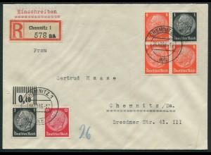 Dt. Reich, W 64, portogerechter Orts-R-Brief (11630)
