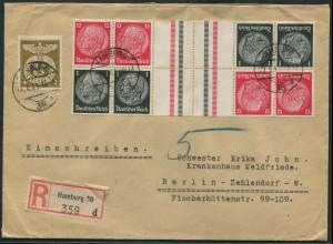 Dt. Reich, KZ 26 (2) + S 149 (2), auf R-Brief (11772)
