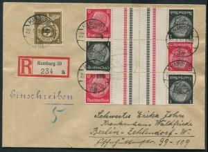 Dt. Reich, KZ 26 (3), portogerechter R-Brief (11778)