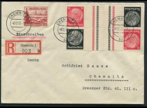 Dt. Reich, KZ 26 (2), portogerechter Orts-R-Brief (11780)