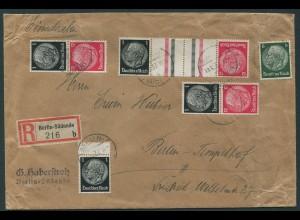 Dt. Reich, KZ 26 + S 147 (2), portogerechter Orts-R-Brief (11781)