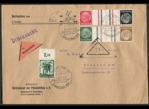 Dt. Reich, KZ 26 + KZ 27.1, portogerechter Nachnahme-Drucksachen-Brief (11783)