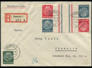 Dt. Reich, KZ 28 (2), portogerechter Orts-R-Brief (11832)