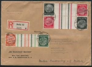 Dt. Reich, KZ 29.1 (2) + KZ 26 (2), portogerechter R-Brief, Mi. 430,- (11847)