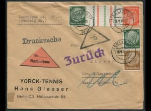 Dt. Reich, KZ 29.2 + S 153, portogerechte Nachnahme-Orts-Drucksache (11870)