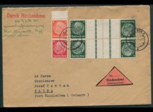 Dt. Reich, KZ 22.3 (2) + S 201, portogerechter Nachnahme-Brief, Sudetenl. (12259)