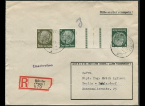 Dt. Reich, KZ 22.4, portogerechter R-Brief (12271)