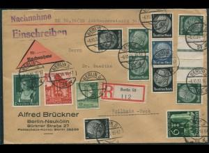 Dt. Reich, KZ 22.4 + S 174, portogerechter Orts-Nachnahme-R-Brief (12277)