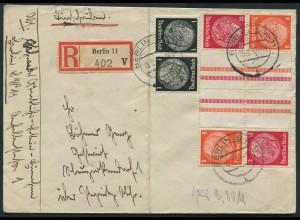 Dt. Reich, KZ 33 (2) + K 21, portogerechter R-Brief (12337)