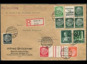 Dt. Reich, KZ 33, W 81, S 187, portogerechter Nachnahme-R-Brief (12452)