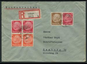 Dt. Reich, W 80 + S 199 (2), auf R-Brief (12512)
