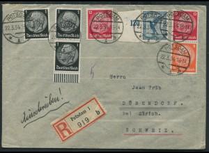 Dt. Reich, S 110, portogerechter Auslands-R-Brief (12515)