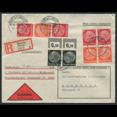 Dt. Reich, S 200 + S 199 (2), portogerechter Nachnahme-R-Brief (12527)