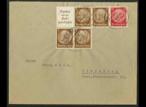 Dt. Reich, W 80 + W 79, portogerechter Fern-Brief, Mi. 45,- (12576)