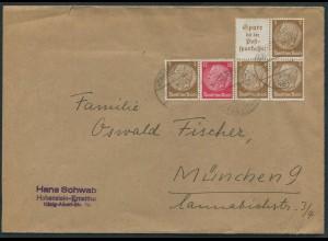 Dt. Reich, W 80 + W 79, portogerechter Fern-Brief (12577)