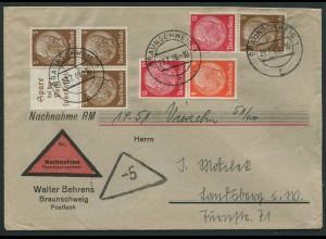 Dt. Reich, W 79, S 179, S 199, portogerechter Nachnahme-Brief (12588)