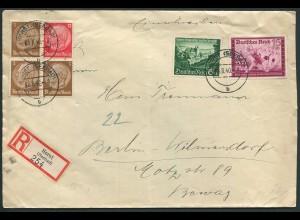 Dt. Reich, W 80, portogerechter R-Brief (12595)