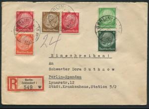 Dt. Reich, W 80, S 187, S 199, portogerechter Orts-R-Brief (12597)