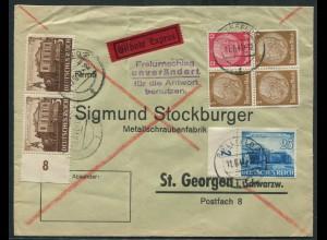 Dt. Reich, W 80, portogerechter Eil-Brief (12600)