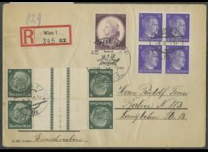 Dt. Reich, KZ 22.5 (2), portogerechter R-Brief, Ostmark-Beleg, Mi. 50,- (12629)