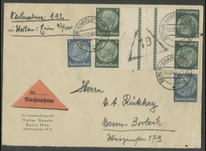 Dt. Reich, KZ 22.5 (2), portogerechter Nachnahme-Brief, Mi. 50,- (12630)
