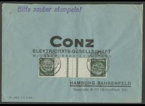 Dt. Reich, KZ 22.6, portogerechte Einzelfrankatur, Mi.-Handbuch 60,- (12632)