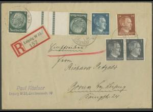 Dt. Reich, KZ 22.6, portogerechter R-Brief, Mi. 70,- (12636)