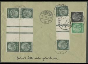 Dt. Reich, KZ 22.6 (3), portogerechter R-Brief, Mi. 110,- (12637)