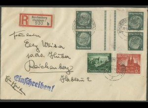 Dt. Reich, KZ 22.6 (2), auf Orts-R-Brief, Sudetenland, Mi.-Handbuch 45,- (12639)