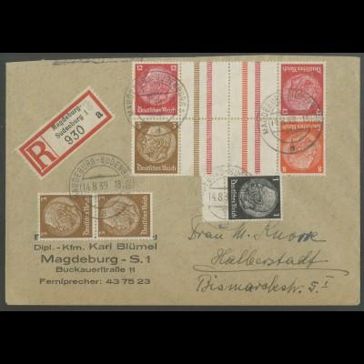 Dt. Reich, KZ 23.3 + KZ 34, portogerechter R-Brief (12656)