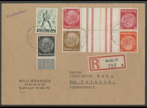 Dt. Reich, KZ 23.3 + KZ 34, portogerechter R-Brief (12658)