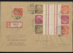 Dt. Reich, KZ 23.3 + KZ 34 (2), portogerechter R-Brief (12660)