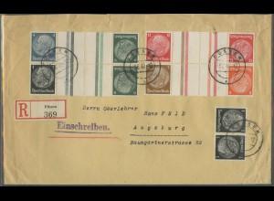 Dt. Reich, KZ 23.3, KZ 34, KZ 35, KZ 36, K 21, portoger. R-Brief, Mi. 60,-(12662)