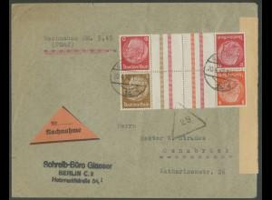 Dt. Reich, KZ 23.3 + KZ 34, auf Nachnahme-Brief (12667)