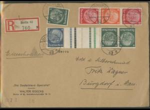Dt. Reich, KZ 36, S 200, portogerechter R-Brief (12689)